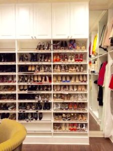 A wall for displaying shoes with clear toe guards allow for the owner to select the appropriate footwear to match the outfit on any occasion.